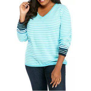 TOMMY HILFIGER Plus Size Breton Stripe Ivy V-neck Sweater Splash Blue